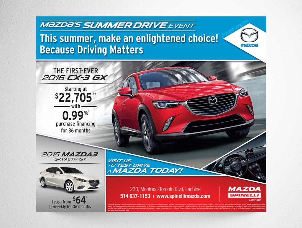 Publicité journal pour Spinelli Mazda